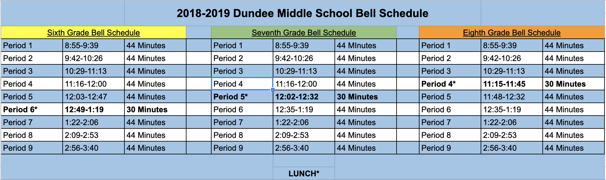 DMS Regular Day Bell Schedule