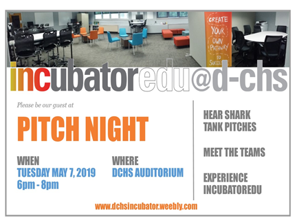 INCUBATOR PITCH NIGHT MAY 7 FROM 6:00 PM - 8:00 PM.