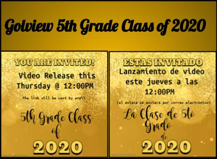 Golfview Class of 2020 Celebration Video Release this Thursday!