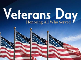 Veteran's Day Assembly- November 11th from 1 pm to 2:15 pm