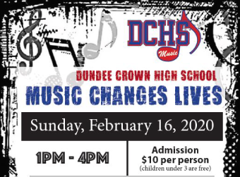 Dundee-Crown to Host Music Changes Lives on February 16